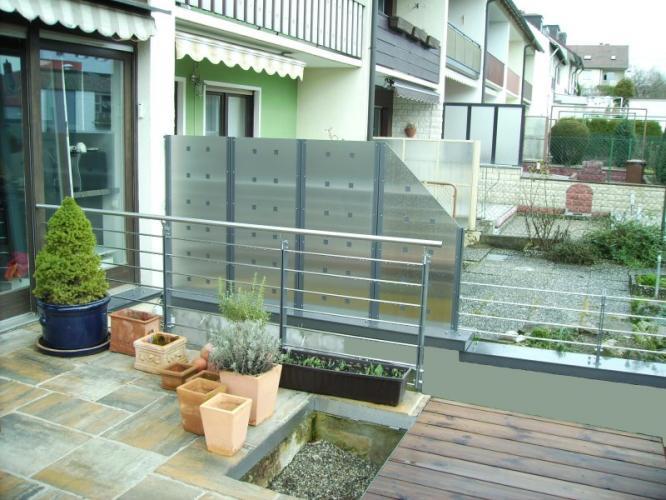 balkongel nder und sichtschutz mit platten pictures to pin on pinterest. Black Bedroom Furniture Sets. Home Design Ideas